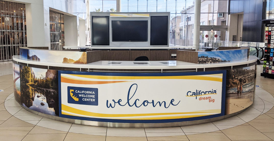 Full view of the Welcome Center kiosk